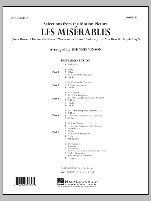 Les Miserables (Selections from the Motion Picture) (COMPLETE) sheet music for concert band by Johnnie Vinson. Score Image Preview.