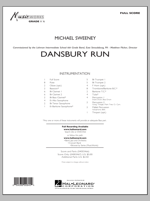 Dansbury Run (COMPLETE) sheet music for concert band by Michael Sweeney. Score Image Preview.