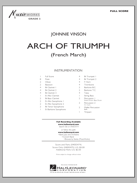 Arch of Triumph (French March) (COMPLETE) sheet music for concert band by Johnnie Vinson. Score Image Preview.