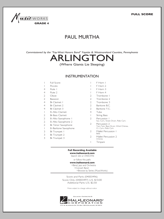Arlington (Where Giants Lie Sleeping) (COMPLETE) sheet music for concert band by Paul Murtha. Score Image Preview.
