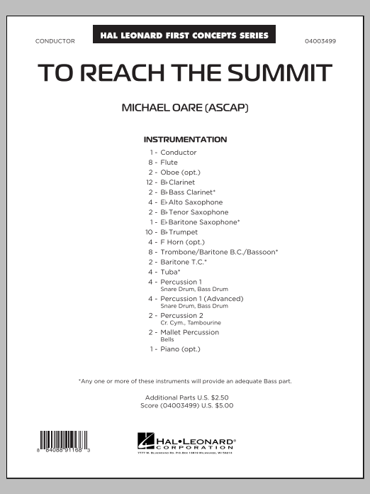 To Reach the Summit (COMPLETE) sheet music for concert band by Michael Oare. Score Image Preview.