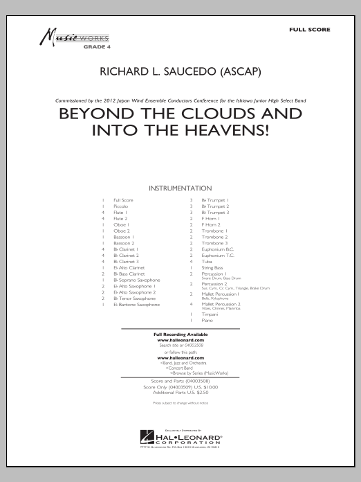 Beyond the Clouds and Into the Heavens! (COMPLETE) sheet music for concert band by Richard L. Saucedo. Score Image Preview.