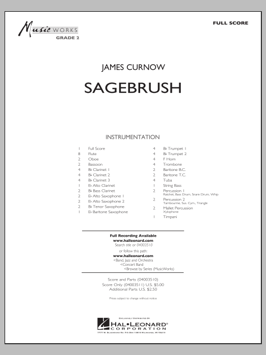 Sagebrush (COMPLETE) sheet music for concert band by James Curnow. Score Image Preview.