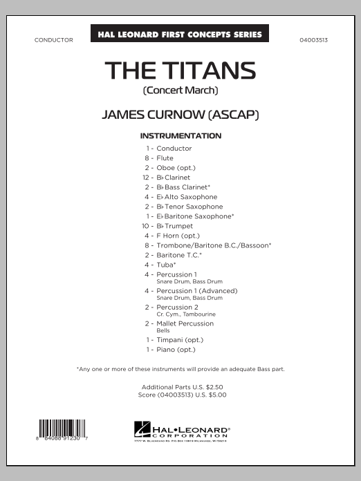 The Titans (Concert March) (COMPLETE) sheet music for concert band by James Curnow. Score Image Preview.