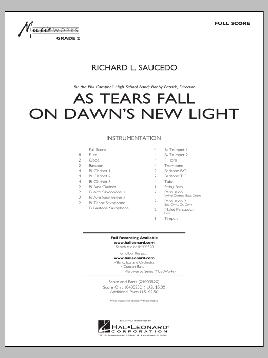 As Tears Fall on Dawn's New Light (COMPLETE) sheet music for concert band by Richard L. Saucedo. Score Image Preview.