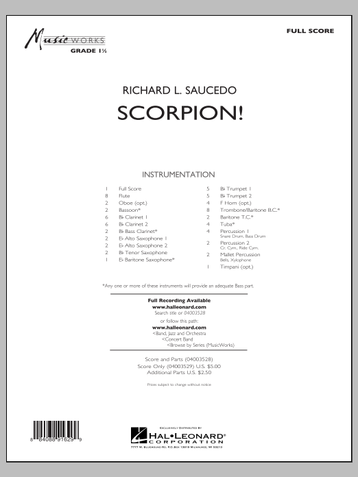 Scorpion! (COMPLETE) sheet music for concert band by Richard L. Saucedo. Score Image Preview.