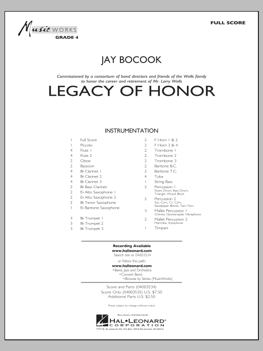 Legacy of Honor (COMPLETE) sheet music for concert band by Jay Bocook. Score Image Preview.