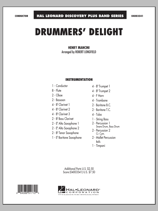 Drummers' Delight (COMPLETE) sheet music for concert band by Henry Mancini and Robert Longfield. Score Image Preview.