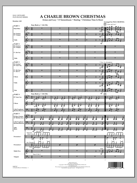 A Charlie Brown Christmas (COMPLETE) sheet music for concert band by Paul Murtha and Vince Guaraldi. Score Image Preview.