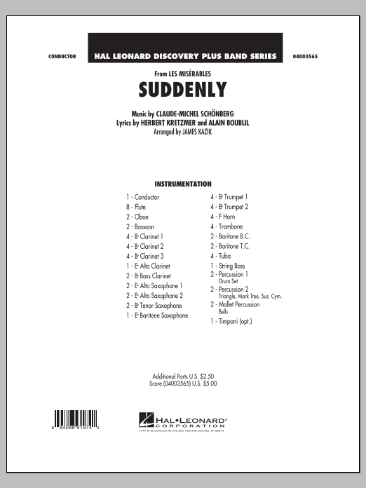 Suddenly (from Les Miserables) (COMPLETE) sheet music for concert band by James Kazik, Alain Boublil and Claude-Michel Schonberg. Score Image Preview.