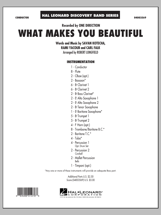 What Makes You Beautiful (COMPLETE) sheet music for concert band by Robert Longfield and One Direction. Score Image Preview.