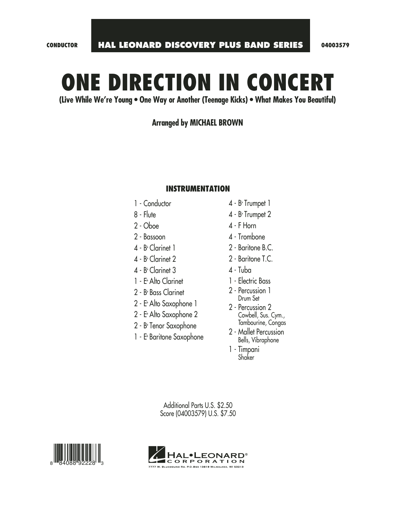 One Direction In Concert (COMPLETE) sheet music for concert band by Michael Brown and One Direction. Score Image Preview.