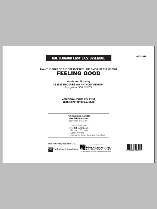 Feeling Good (COMPLETE) sheet music for jazz band by Rick Stitzel and Michael Buble. Score Image Preview.