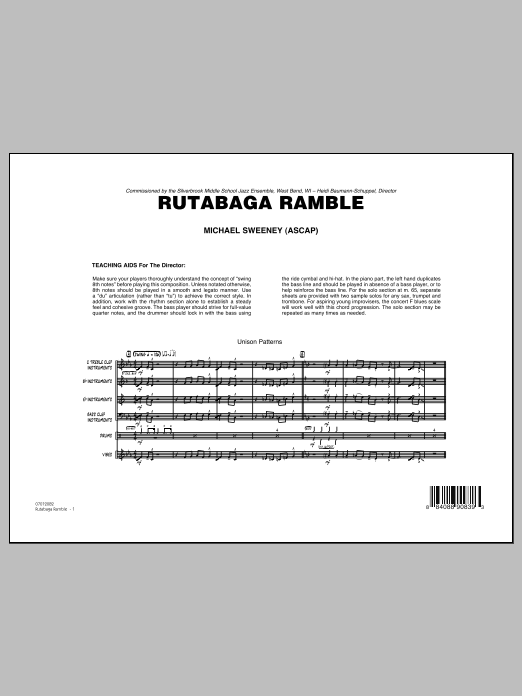 Rutabaga Ramble (COMPLETE) sheet music for jazz band by Michael Sweeney. Score Image Preview.
