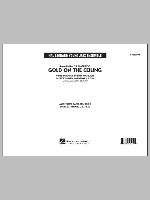 Gold on the Ceiling (COMPLETE) sheet music for jazz band by Paul Murtha and The Black Keys. Score Image Preview.