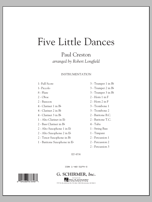 Five Little Dances (COMPLETE) sheet music for concert band by Robert Longfield and Paul Creston. Score Image Preview.