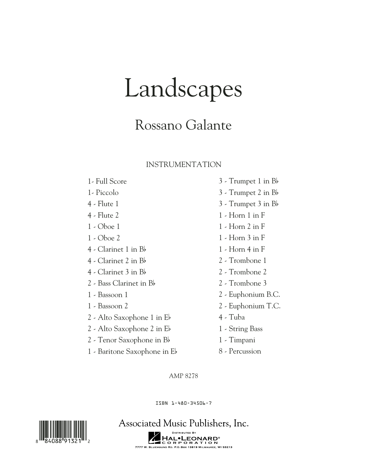 Landscapes - Conductor Score (Full Score) (Concert Band)