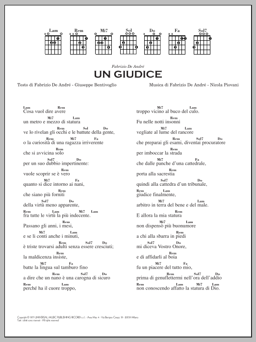 Un Giudice Sheet Music