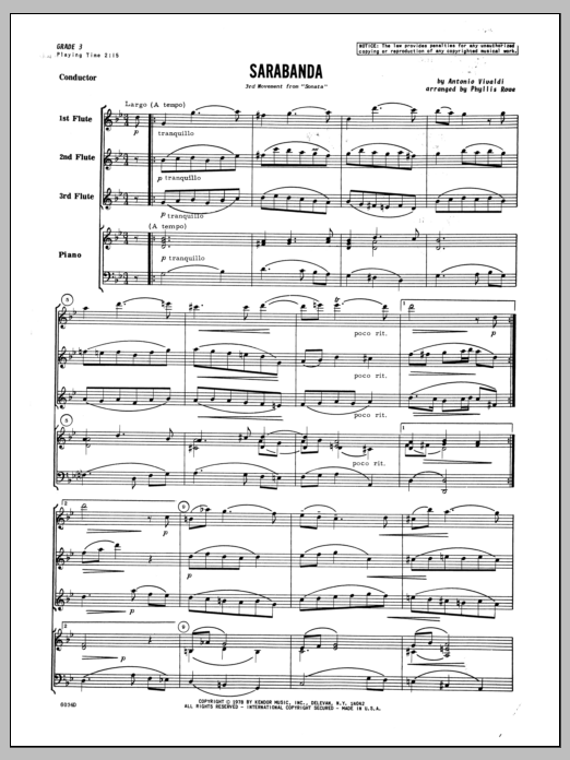 Sarabanda (COMPLETE) sheet music for three flutes and piano by Phyllis Rowe and Antonio Vivaldi. Score Image Preview.