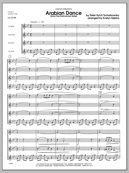 Arabian Dance (from The Nutcracker Suite) (COMPLETE) sheet music for flute quartet by Evelyn Sabina and Pyotr Ilyich Tchaikovsky. Score Image Preview.