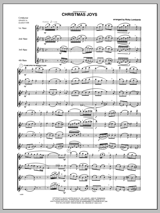 Christmas Joys (COMPLETE) sheet music for flute quartet by Lombardo and Miscellaneous. Score Image Preview.
