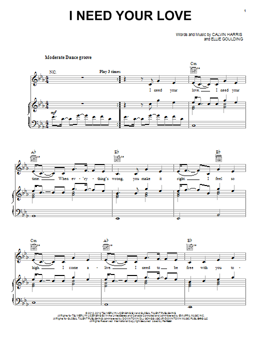 I Need Your Love Sheet Music