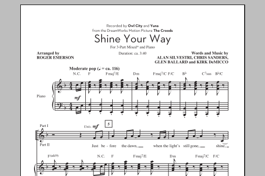 Partition chorale Shine Your Way de Owl City - 3 voix mixtes