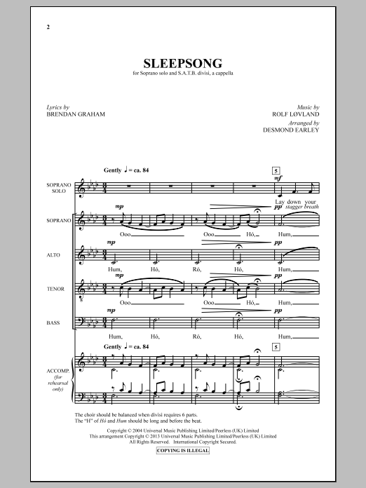 Sleepsong Sheet Music