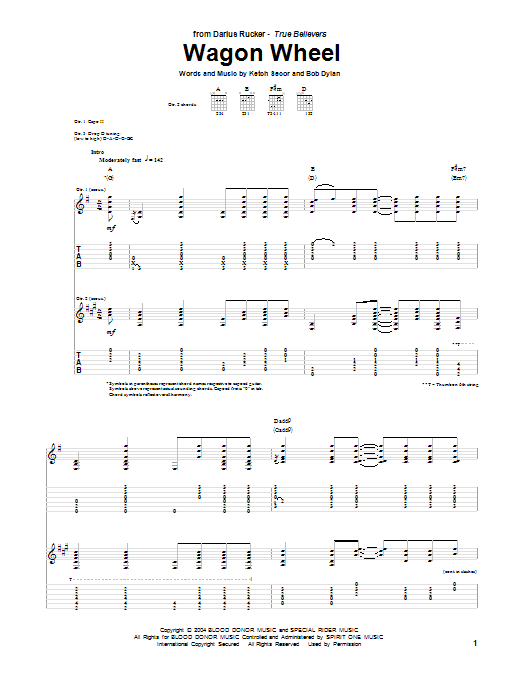 Wagon Wheel by Darius Rucker - Guitar Tab - Guitar Instructor