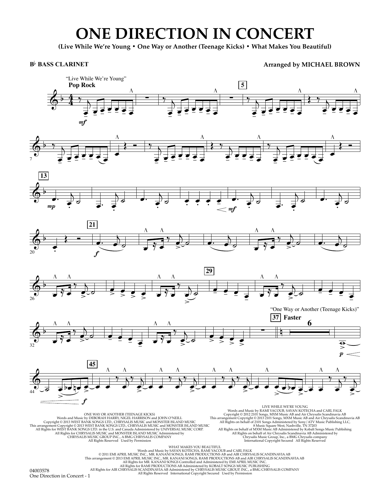 One Direction In Concert - Bb Bass Clarinet (Concert Band)