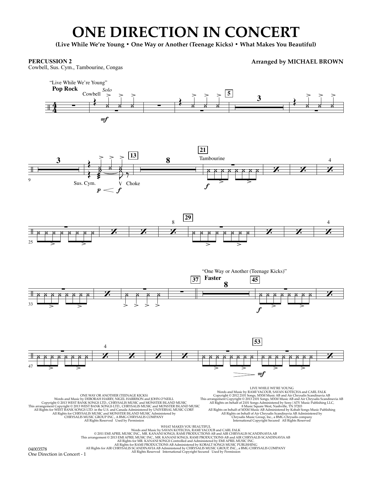 One Direction In Concert - Percussion 2 (Concert Band)