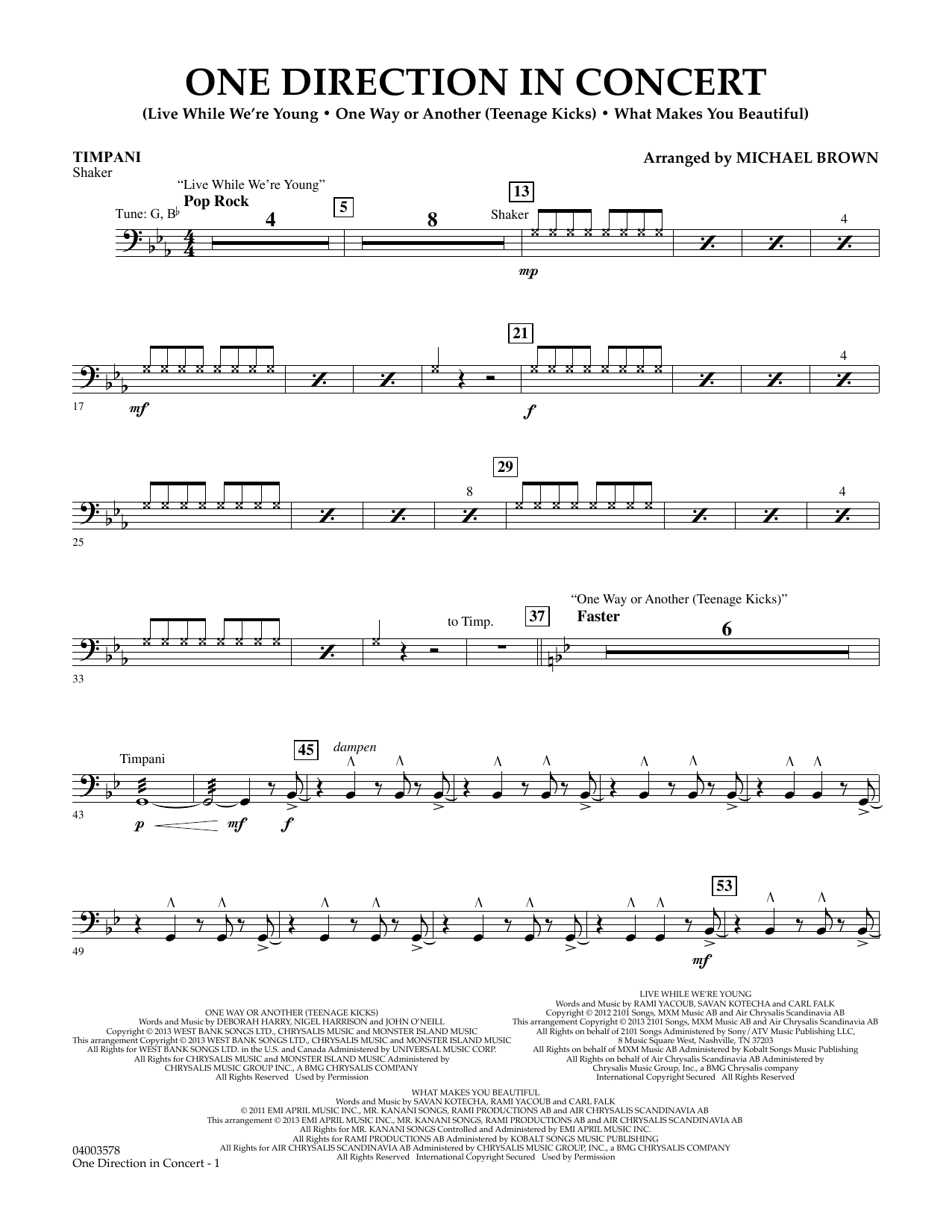 One Direction In Concert - Timpani (Concert Band)