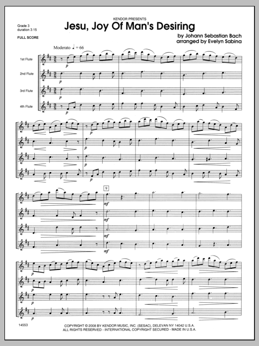 Jesu, Joy of Man's Desiring (COMPLETE) sheet music for flute quartet by Evelyn Sabina and Johann Sebastian Bach. Score Image Preview.
