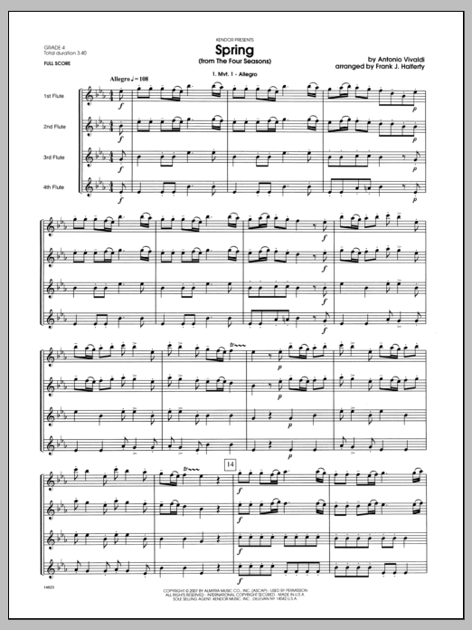 Spring (from The Four Seasons) (COMPLETE) sheet music for flute quartet by Antonio Vivaldi and Halferty. Score Image Preview.