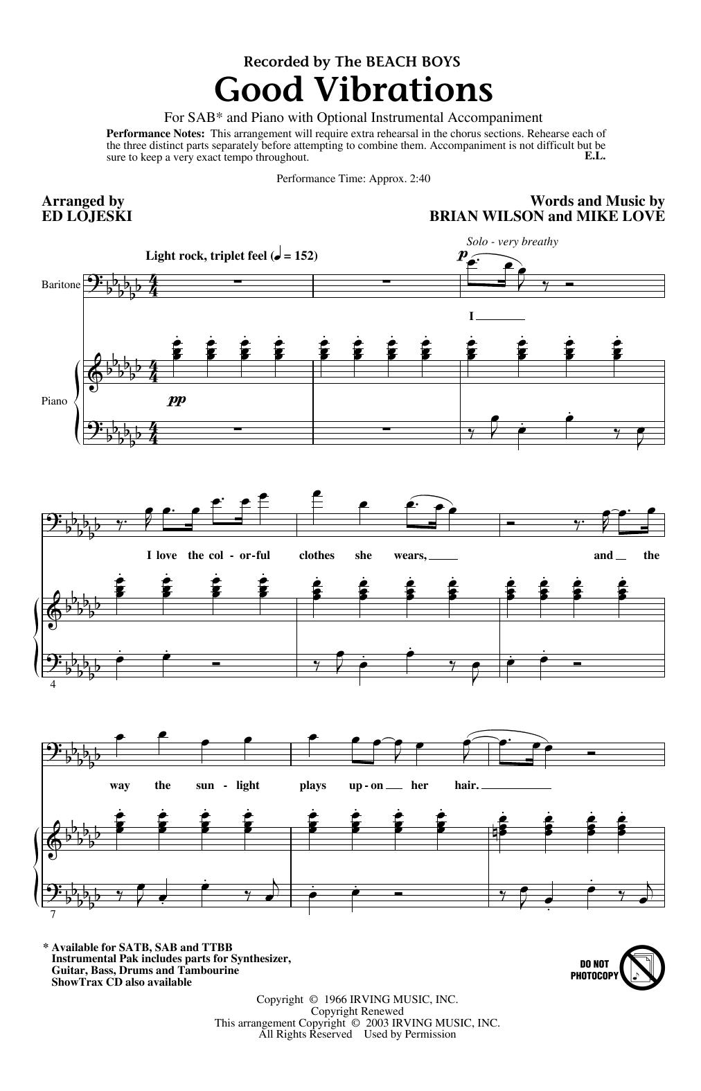 Good Vibrations (arr. Ed Lojeski) (SAB Choir)