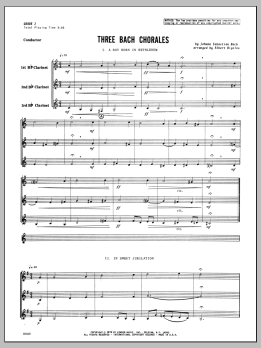 Three Bach Chorales (COMPLETE) sheet music for clarinet trio by Bigelow and Johann Sebastian Bach. Score Image Preview.