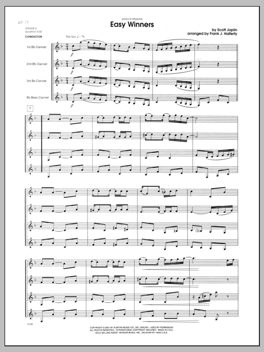 Easy Winners (COMPLETE) sheet music for clarinet quartet by Scott Joplin and Halferty. Score Image Preview.