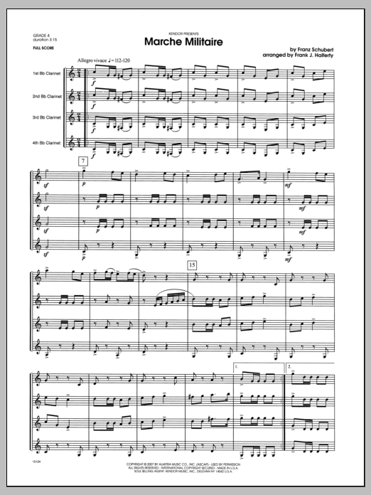 March Militaire (COMPLETE) sheet music for clarinet quartet by Franz Schubert and Halferty. Score Image Preview.