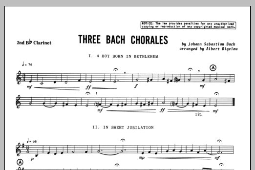 Three Bach Chorales - Clarinet 2 Sheet Music