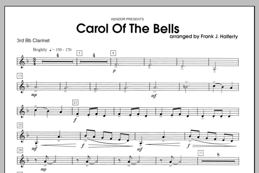 Carol of the bells clarinet 3 sheet music direct