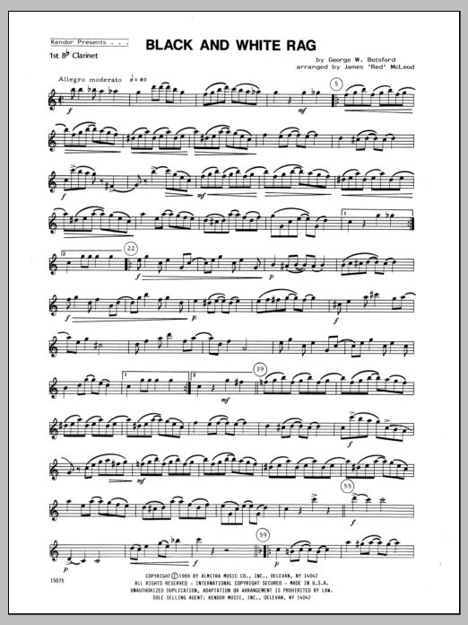Black And White Rag - Clarinet 1 Sheet Music