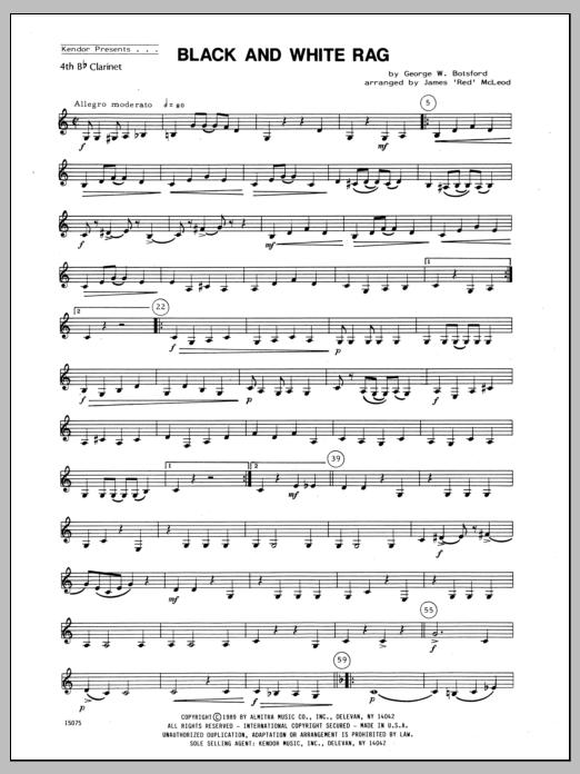 Black And White Rag - Clarinet 4 Sheet Music
