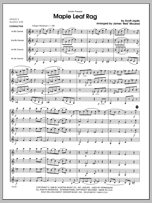 Maple Leaf Rag (COMPLETE) sheet music for clarinet quartet by Scott Joplin and James