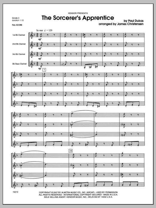 Sorcerer's Apprentice, The (COMPLETE) sheet music for clarinet quartet by Christensen and Dukas. Score Image Preview.