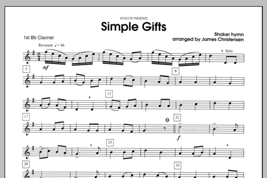 Simple Gifts - Clarinet 1 Sheet Music