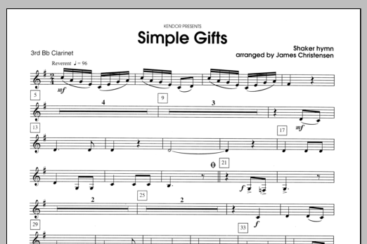 Simple Gifts - Clarinet 3 Sheet Music