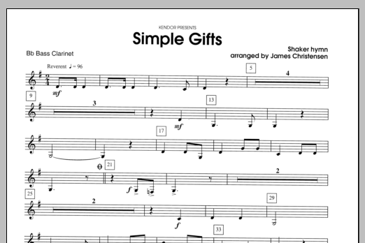Simple Gifts - Bass Clarinet Sheet Music