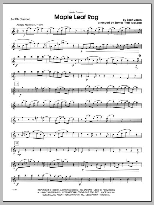 Maple Leaf Rag - Clarinet 1 | Sheet Music Direct