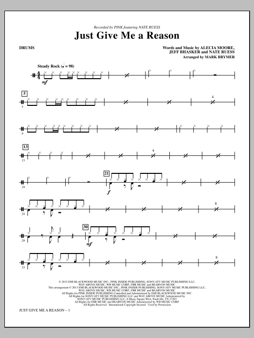 Just Give Me a Reason - Drums | Sheet Music Direct