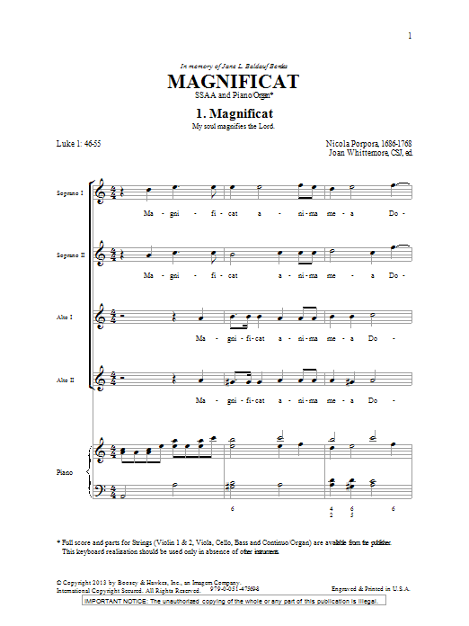 Magnificat In A (SSA Choir)